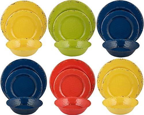 Melange 18-Piece Melamine Dinnerware Set (Rustic Collection) | Dinner Plate, Salad Plate & Soup Bowl (6 Each) | Multicolor