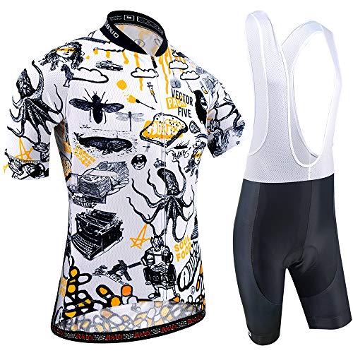 BXIO Ropa de Ciclismo para Hombres, Mangas Cortas de Bicicleta Ropa de Bicicleta 5D Gel Pad Camisetas de Ciclismo Cortas 208 (Cartoon(208,Bib Shorts), 2XL)