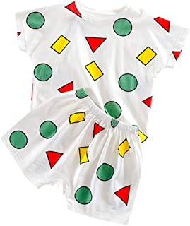 Jugendhj Toddler Kids Baby Boys Girl Cartoon Pajamas Sleepwear T Shirt Shorts Clothes Set