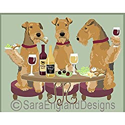 image of airedale dogs having a glass of wine