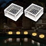 MEDOYOH 2 unidades 6 LED Solar Bodenleuchte Ice Brick Light Warm Light Light On/Off Lichtsensor solar estanco Bodenstrahler luz luz para exterior jardín Patio Camino Decoración, 105 x 105 x 55 mm