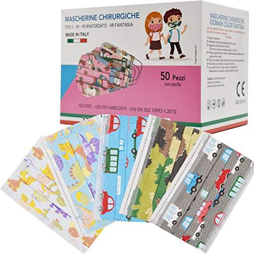 50 Pezzi MADE IN ITALY Mascherine Bambini Colorate Protettiva Personale 3 strati CE tipo IIR, Nasello Regolabile, Pacchi individuali Certificate CE