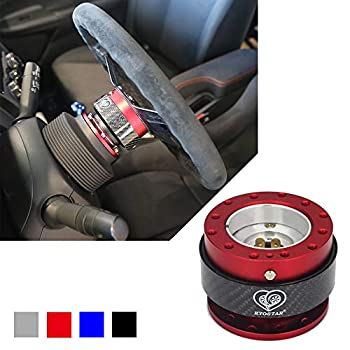 Kyostar Steering Wheel Quick Release Kit 100% Real Carbon Fiber Hub Adapter Snap Off Boos Kit Red