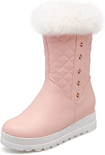Women's Keep Warm Ankle Snow Boots Round Toe PU Soft Leather Platform Shoes Sweet Winter Boots