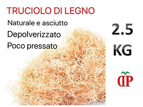 TRUCIOLO LEGNO PER CESTE 2.5 KG Paglia in legno naturale per confezioni natalizie pasquali e cesti regalo, imballo di lana di legno essiccata da riempimento