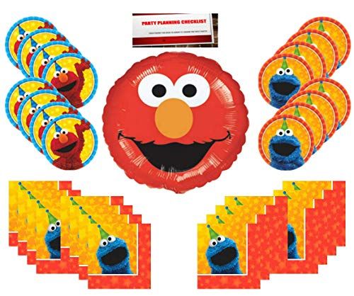 Sesame Street Birthday Party Supplies Bundle Pack for 16 (Bonus 18 Inch Elmo Balloon Plus Party Planning Checklist by Mikes Super Store)
