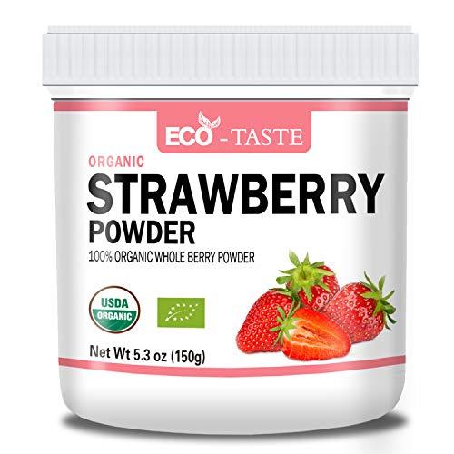 Organic Strawberry Powder, 5.3oz(150g), 100% Pure Freeze Dried Strawberry Fruit Powder. (pack of 1)