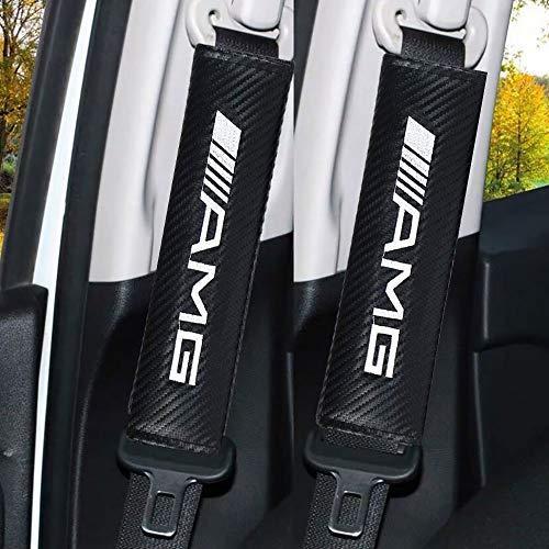 2 Stück Emblem Auto Gurtpolster Sicherheitsgurt Kohlefaser Leder Sicherheitsgurt Polster Mit Automarken-Logo Bequem und geschmeidig Auto Innere Zubehör