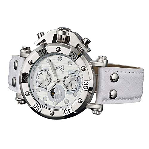 Konigswerk Men's Watch White Leather White Dial Multifunction Day Date Sun Moon AQ101130G