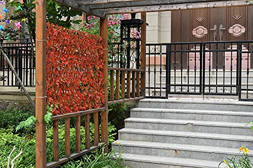 GLANT Expandable Fence Privacy Screen for Balcony Patio Outdoor,Decorative Faux Ivy Fencing Panel,Artificial Hedges (Single Sided Leaves) (1, Red-Maple Leaf)