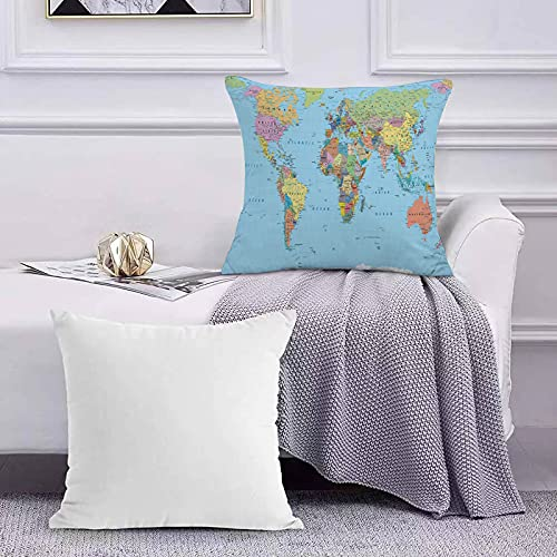 Funda de Cojín Funda de Almohada del Hogar Mapa Mundial Coloreado: fronteras, países, Carreteras y Ciudades Sofá Throw Cojín Almohada Caso de la Cubierta para 45x45cm