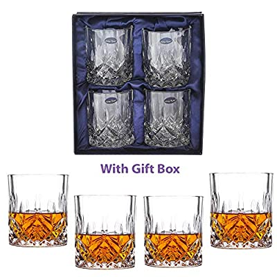 Amlong Crystal Lead Free Double Old Fashioned Crystal Whiskey Glass - Classic Stylish Design – Perfect for Scotch, Bourbon, Cognac and Cocktail Glasses, 9 Ounce, Set of 4 With Gift Box