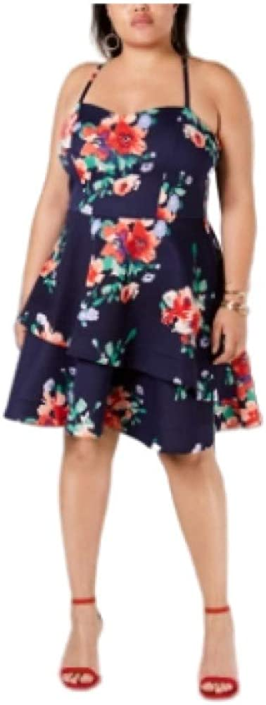 Sequin Hearts Womens Juniors Floral Tiered Party Dress Navy 18
