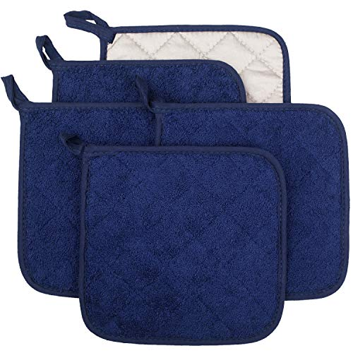 Lifaith 100% Cotton Kitchen Everyday Basic Terry Pot Holder Heat Resistant Coaster Potholder for Cooking and Baking Set of 5 Dark Blue