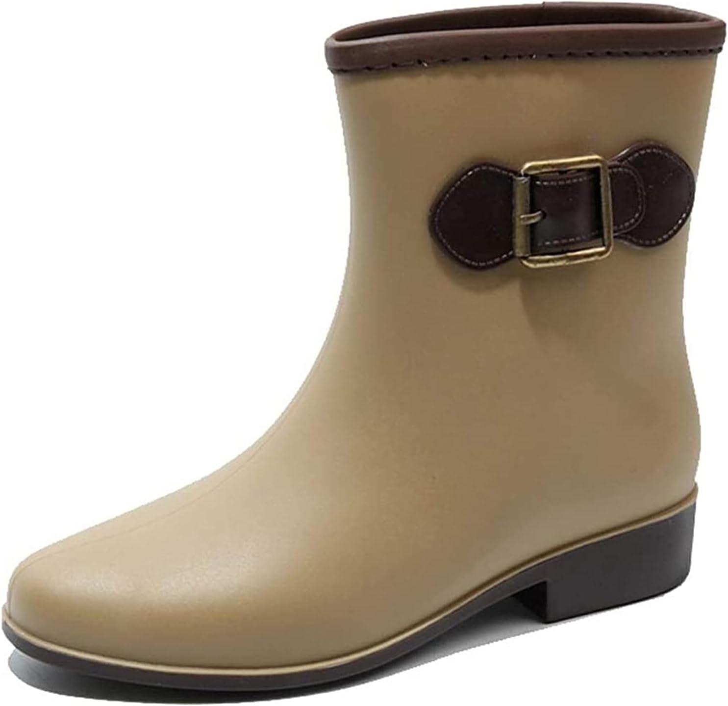 YIWANGO Summer Rain Boots Women's Fashion Wear Non-Slip Boots Waterproof Short Tube Rain Boots rain Boots (Color : Khaki, Size : 38 EU)