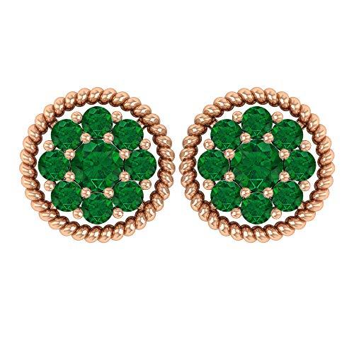Rosec Jewels 18 quilates oro rosa redonda Green esmeralda, difuso