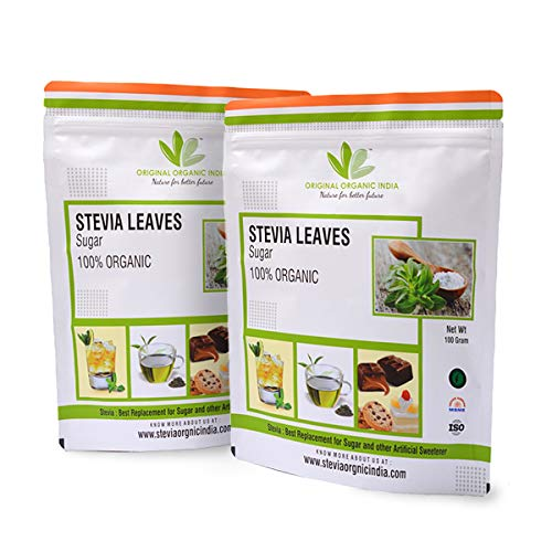 Original Organic India's 100% Organic STEVIA LEAVES (Pack of 2) 200gms Natural Sweetener Zero Calorie Keto for Diabetic Control and Weight Loss Sugarfree