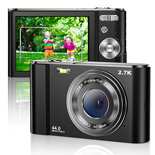Cámara Digital 2.7K Mini Video Full HD 44MP 2.88 Pulgadas Pantalla LCD Zoom Digital 16X Cámaras Compactas para Estudiantes Pequeños, Regalo para Adolescentes, Niños, Principiantes, Adultos, 2 Baterías