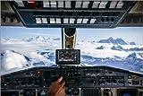 Poster 30 x 20 cm: Flugzeug-Cockpit - Fliegen über