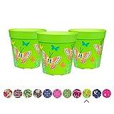 Juego de 3 macetas coloridas de Hum Flowerpots, plástico, verde, 15x15