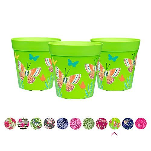 Hum Blumentöpfe, Pflanztöpfe im 3er-Set, Schmetterling, grün, farbenfrohe Pflanzgefäße, Blumentöpfe aus Kunststoff für drinnen und draußen, 15 x 15cm