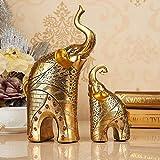 A/N Estatua Estatua de Elefante de Resina Europea Artesanía Adorno Animal Estatuillas de Elefante de Oro Sala de Estar en el hogar Armarios de Vino Decoración Regalos de Boda, Oro