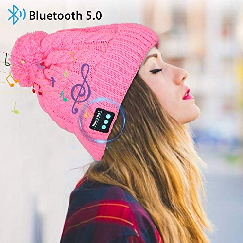 Miserwe Bluetooth Beanie Wireless 5.0 Bluetooth Hat with Hands-Free Earphone Mic Speaker Headphone Beanie Men Women Gifts Winter Outdoor Sport Beanie for iPhone Android (Pink)