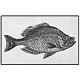 RenteriaDecor Fish Rug Shoes Mat 60x30 Vintage Design Rock Bass Fish Figure Hand Drawn in Black and White Aquatic Image Low-Profile Rug Mats for Entry, Patio, High Traffic Areas