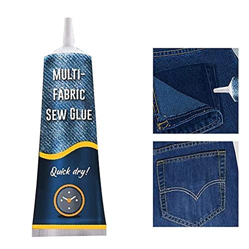 LANGM Pegamento Textil, Adhesivo Permanente Impermeable, Resiste A Lavados Y Planchados, 50 Ml