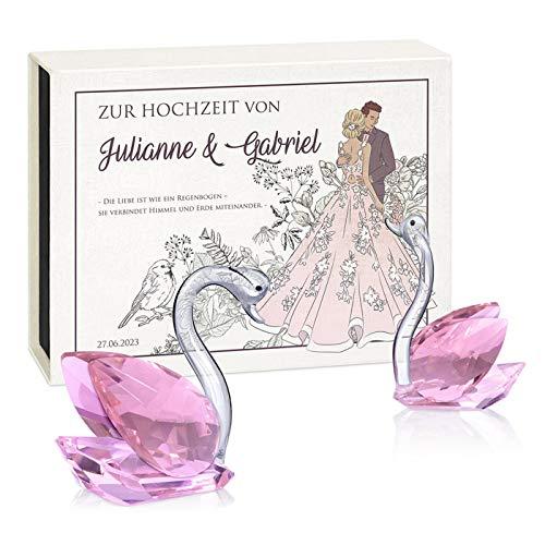 Murrano 2 Kristallglas-Schwan-Figuren - in personalisierter Box - Dekofiguren - Briefbeschwerer - Geburtstagsgeschenke für Paare - Brautpaare -Ehepaare - zum Valentinstag - Brautkleid