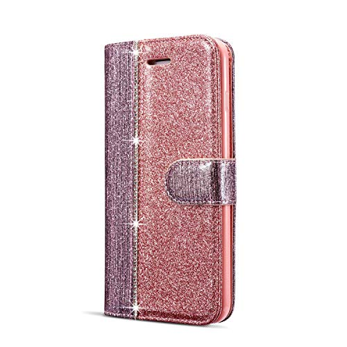 JAWSEU Compatible avec Samsung Galaxy A3 2017 Coque Portefeuille PU Étui Cuir à Rabat Magnétique Diamant Strass Glitter Paillette Brillant Couleur de Épissure Stand Leather PU Flip Wallet Case,or rose