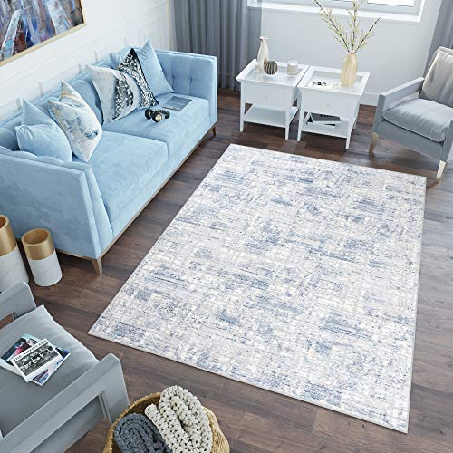Tapiso Sky Alfombra de Salón Comedor Dormitorio Juvenil Diseño Moderno Azul Crema Abstracto Moteada Fina 140 x 200 cm