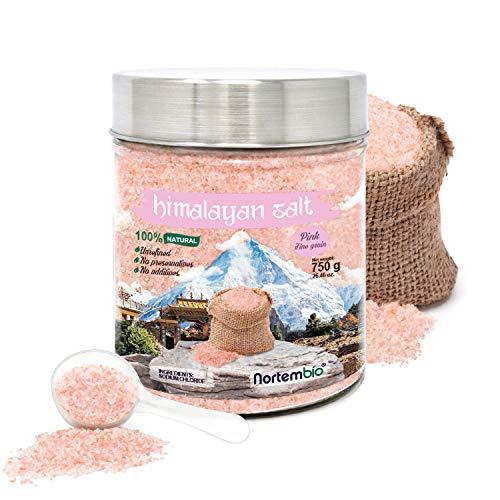 Nortembio Rosa Himalaya-Salz 750 g. Feinkorn (1-2 mm). 100% Natürlich. Unraffiniert. Ohne Konservierungsstoffe. Von Hand extrahiert. Aus Pakistan. Premium-Qualität.