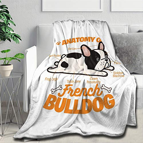 Anatomy of A French Bulldog Blanket Flannel Ultra Soft Lightweight Throw Fuzzy Warm Decorative Blankets Personalized Gift Anti-Pilling S 50'x40'