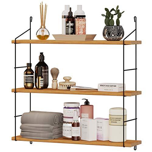 Estantería de pared de madera, moderna estantería flotante con 3 baldas, estantería colgante de diseño industrial, estantería decorativa de acero inoxidable (negro)