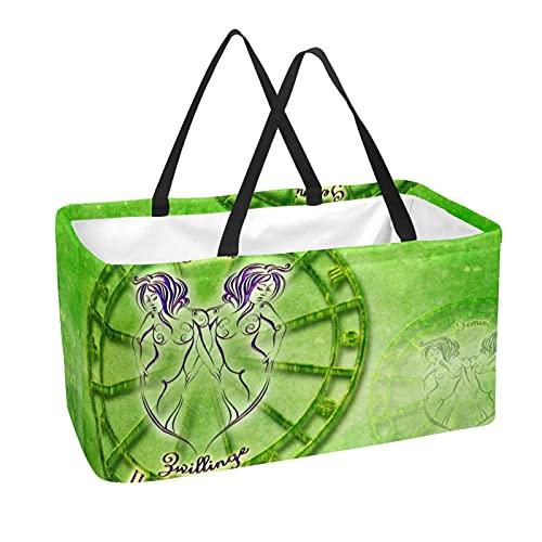 Bolsas reutilizables para comestibles cesta de compras 50L con soporte columna bolsa de almacenamiento Gemini