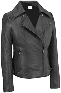 VearFit Women's Zoperious Designer Biker Lamb-Skin Red, Pink, Tan, Gray and Black Leather Jacket Plus Size