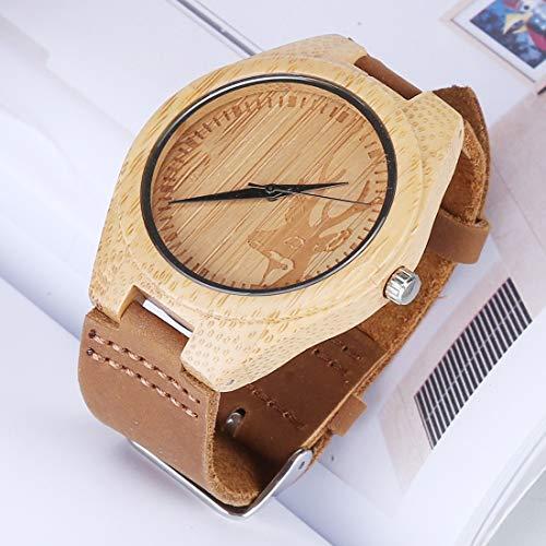 Reloj Digital Mujeres, Relojes De Moda Pareja Regalos, Reloj De Cuero De Madera para Hombre, Reloj De Cáscara De Bambú Redondo Grande con Correa De Cuero Especial Clásico (Color : Color10)