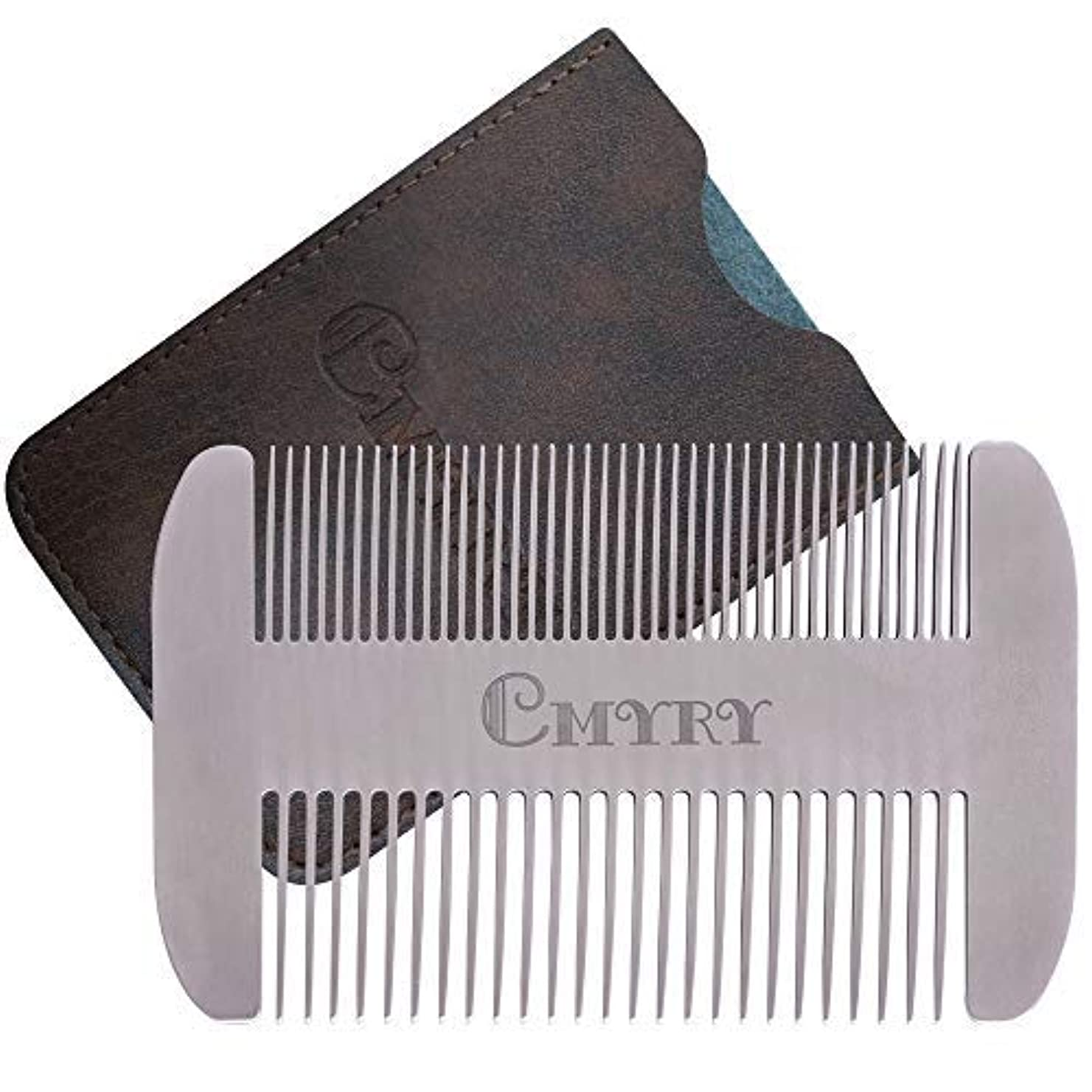Beard Comb EDC Mustache Stainless Steel Wallet Comb Beard & Hair Pocket Mini Anti-Static Comb for Man(travel metal wallet) [並行輸入品]