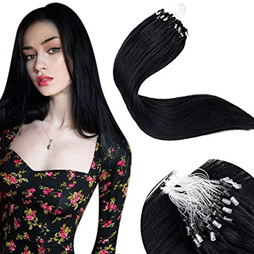 LaaVoo Remy Extensions Microring 1g Schwarz Microringe Haarverlangerung mit Microbeads 16zoll/40cm Unsichtbar Naturliche Microlink Loop Hair Black 50Gramm/50Stuck Extension...