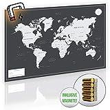 VACENTURES MAGNETISCHE Pinnwand Weltkarte XL 2X 15 magnetische Pins I Markiere Deine Reiseziele I...