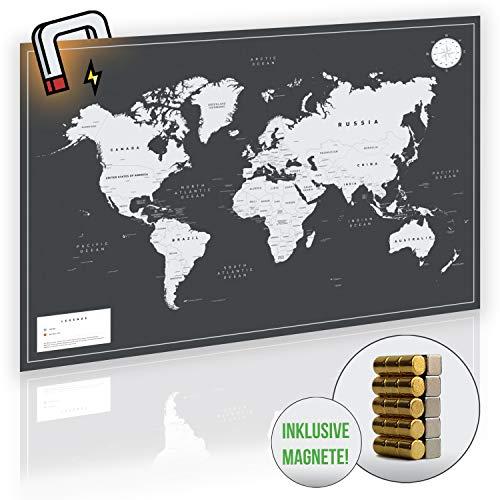 VACENTURES MAGNETISCHE Pinnwand Weltkarte XL 2X 15 magnetische Pins I Markiere Deine Reiseziele I Sammel Fotos und Magnete I DIN A1 Magnet Poster World map I Edle Wanddekoration in schwarz/weiß/grau