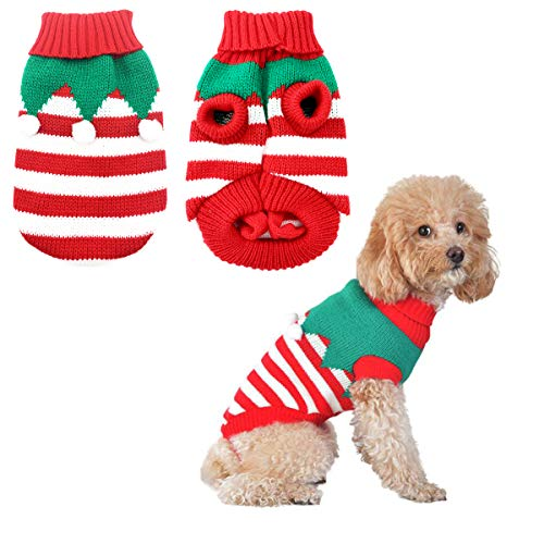CooShou Dog Christmas Sweater Pet Winter Knitwear Xmas Elf Costume Clothes Coats Sweater for Kitty Puppy Cat L