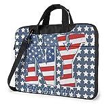 Custodia per laptop con bandiera americana patriottica degli Stati Uniti New York Stars Stripes con spallacci per computer portatili Notebook , 15,6 pollici