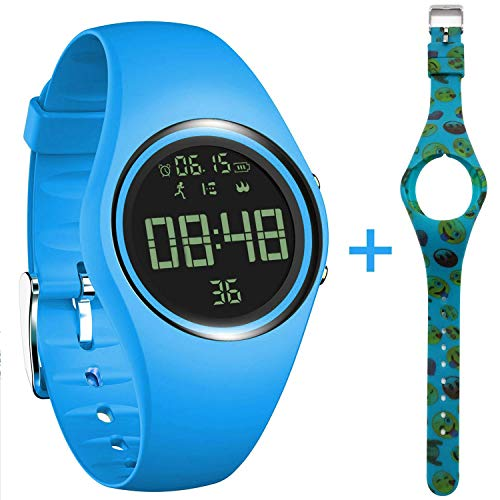 3D Non-Bluetooth Pedometer Watch Sport Wristband IP68 Swimming Water-Resistant Fitness Tracker with Track Steps/Distance/Calorie/Clock/Timer for Walking Running Kids Men Women with Extra Band,SkyBlue