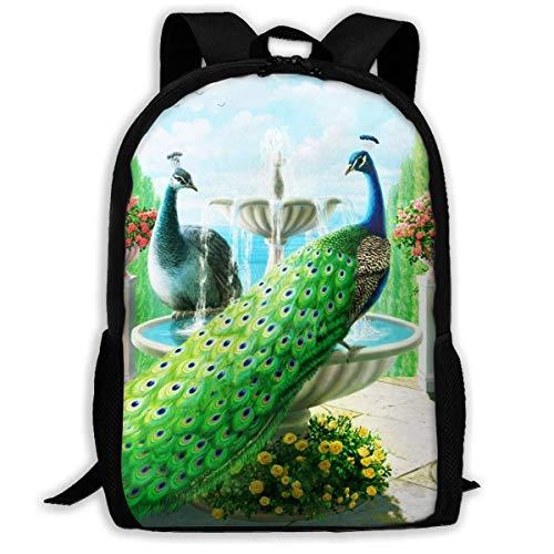 hengshiqi Mochila Backpack, Adult Backpacks Boy's Shoulder Bag Daypack School Season Peacock in The Garden Traveling Bags