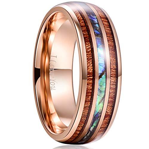 Vakki Ring Herren 8mm Rotgold Wolframcarbid Ring Inlay Abalone Shell und Hawaiian Koa Holz Verlobungsring 65(20.7)