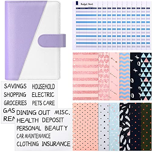27 Pieces A6 Binder Budget Envelopes Money Envelopes Cash Envelope System PU Leather Notebook Binder 6 Holes Expense Budget Sheets and Labels for Budgeting, Bill Planner (Purple and White)