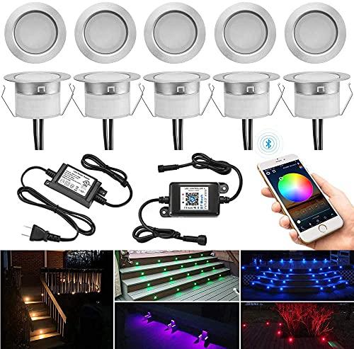 10 luci a LED da incasso per esterni, con Bluetooth, RGBWW, diametro 31 mm, dimmerabili, da pavimento, per terrazze, da esterni, DC12 V, 0,5 W, IP67, impermeabili, per terrazze (RGB + bianco caldo)
