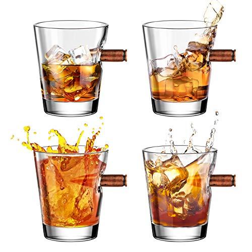 Kollea Whiskey Gläser mit Realem Geschoß 4-teiliges Whiskygläser-Set, mundgeblasener Kristall Whisky Tumbler Glas, Whisky Gläser Set Geschenk für Männer - 60 ml